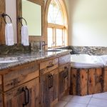 Northwoods Private Vacation Home Main level master bathroom with Jacuzzi and shower