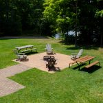 Northwoods Private Vacation Home fire pit,picnic table and seating area